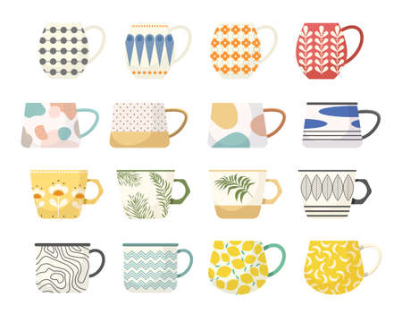 Set of Tea or Coffee Cups. Mugs with Trendy Ornaments Flowers, Polka Dots, Plant and Palm Leaf Branches and Patterns