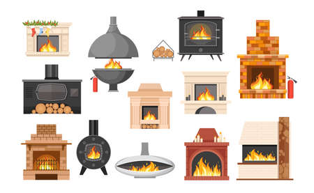 Set of Traditional and Modern Fireplaces, Indoor Heating Stoves, Chimneys with Burning Fire and Logs. Home Fireside 向量圖像