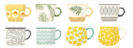 Set of Tea or Coffee Cups Side View. Various Mugs with Trendy Ornament Palm Leaves, Lemon and Banana Fruits, Flowers 向量圖像
