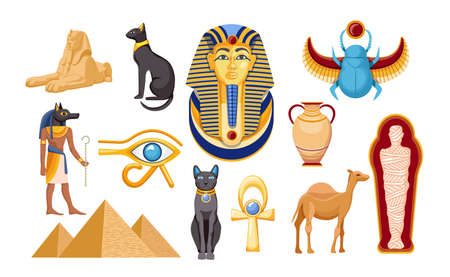 Set of Ancient Egypt Religious Symbols and Landmarks. Sphinx, Scarab and Camel, Mummy, Eye of Providence, Egyptian Icons