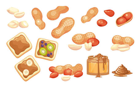 Set Peanut Butter in Glass Jar, and om Bread Toast. Peeled and Unpeeled Nuts, Cereal Protein Breakfast, Energy Food