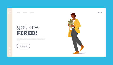 Fired from Work Landing Page Template. Female Character Worker with Stuff in Hands Leaving Workplace, Woman Dismissal 向量圖像