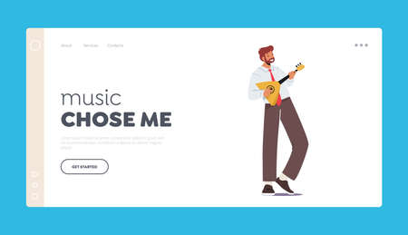 Musician Play Balalaika Landing Page Template. Male Character with String Instrument Perform on Stage Music Concert