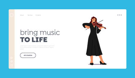 Instrumental Live Entertainment Landing Page Template. Musician Character Playing Violin on Scene with Music Concert 向量圖像