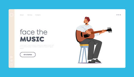Instrumental Performance Landing Page Template. Character Playing Guitar on Scene. Musician with String Instrument 向量圖像