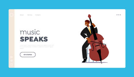 Instrumental Concert Landing Page Template. Musician Character Playing Contrabass or Cello String Instrument on Scene