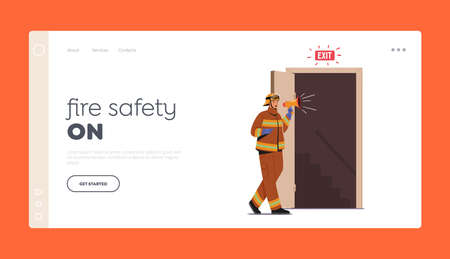 Alert for Office Escape Landing Page Template. Fireman Character with Loudspeaker Announce Fire Emergency Evacuation