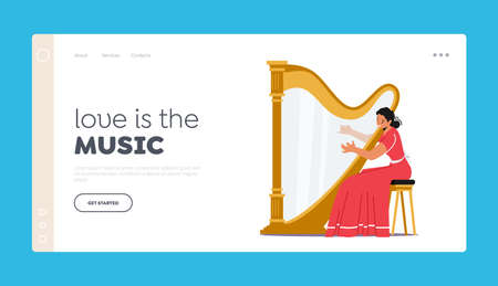 Woman Perform on Stage with Harp Playing Classical Music Landing Page Template. Female Character Playing Concert