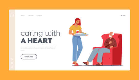 Help and Assistance to Aged People Landing Page Template. Caregiver Female Character Bring Food to Old Man, Caregiving 向量圖像