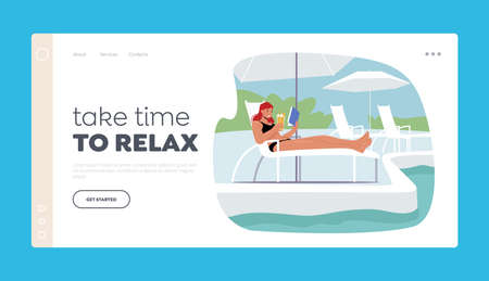 Girl Tourist Character Relax on Resort Landing Page Template. Young Woman Lounging, Drinking Cocktail and Reading Book 向量圖像