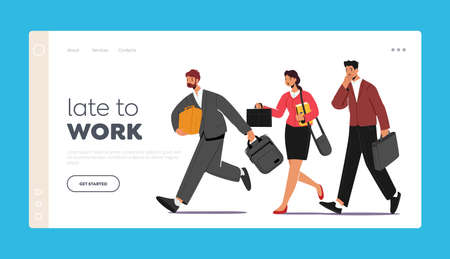 Late in Office, Work Landing Page Template. Business Characters Hurry at Work, Oversleep or Traffic Jam. People Run