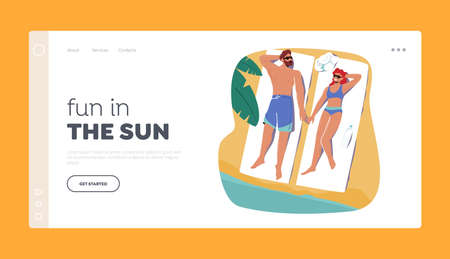 People Enjoying Summer Landing Page Template. Man and Woman Tanning on Beach Lying on Mat with Sunscreen Protection 向量圖像