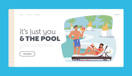 People Relaxing on Tropical Resort Landing Page Template. Tourist Characters on Vacation. Woman Lounging at Poolside
