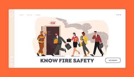 Fire Safety Landing Page Template. Fireman with Megaphone Announce Evacuation Alarm. Characters Escape Office 向量圖像