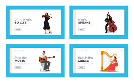 Artists Playing Classical Music Landing Page Template Set. Musicians with String Instruments Perform on Stage 向量圖像