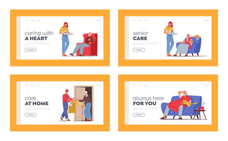 Caregiving Landing Page Template Set. Caregiver Characters Care of Elderly People Bring Food and Medicine. Social Help 向量圖像