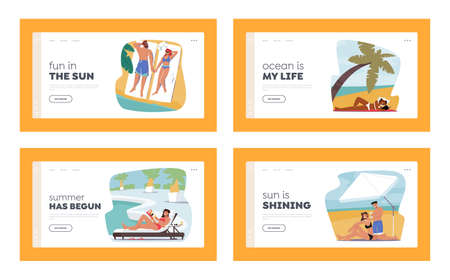 Characters Use Sun Protection on Beach Landing Page Template Set. Men or Women Tanning on Tropical Resort with Sunscreen