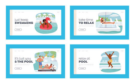 Characters Relax at Poolside Landing Page Template Set. Women Swim on Inflatable Ring, Tanning on Chaise Lounge 向量圖像