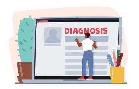 Online Medicine Concept. Patient Male Character Reading Diagnosis Description on Laptop Screen. Smart Medical Technology
