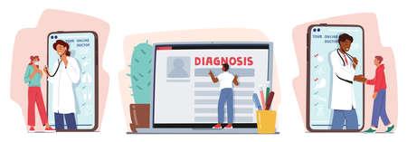 Set Distant Online Medicine Consultation. Smart Medical Technologies. Doctors Communicate with Patients through Computer Vektoros illusztráció