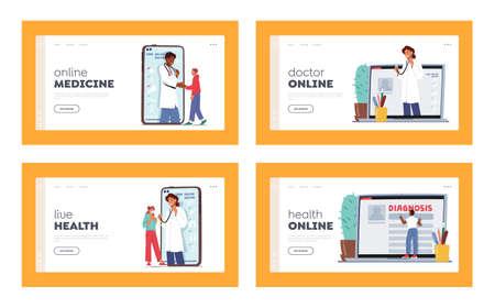 Distant Online Medicine Consultation Landing Page Template Set. Doctors Communicating with Sick Patients through Pc