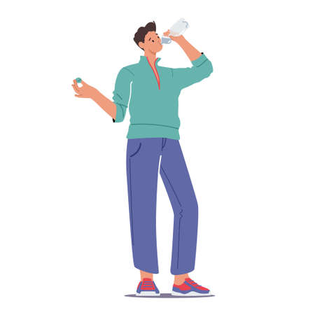 Male Character Drinking Water from Plastic Bottle for Body Hydration, Refreshment after Sport Workout or Exercising