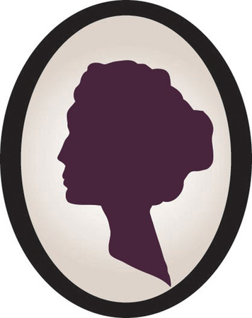 brooch: A silhouette of a female head in a circular frame.