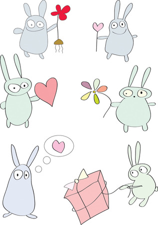Easter rabbits with flowers and hearts. Vector