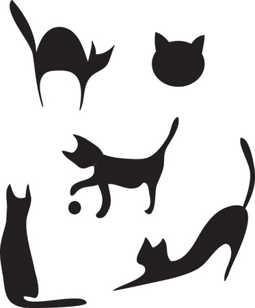 drawing- silhouettes of cats in different poses. Vector