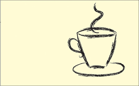 chocolate curls: Coffee. Tea.  Illustration