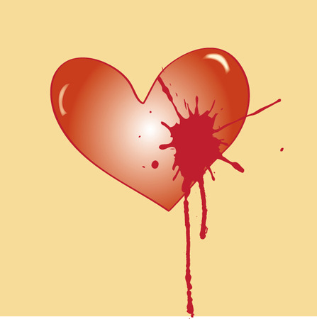 flowed: wounded heart, from which flowed the red blood