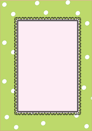 romantic frame on a green background with pea Vector