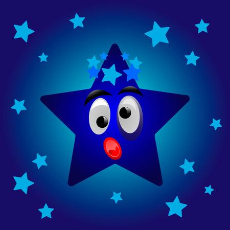 Cartoon star on the starry sky. Vector illustration Illustration