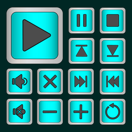 Set of neon buttons turquoise for player . Vector illustration Vector