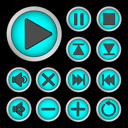 backwards: Set of neon buttons turquoise for player   Vector illustration