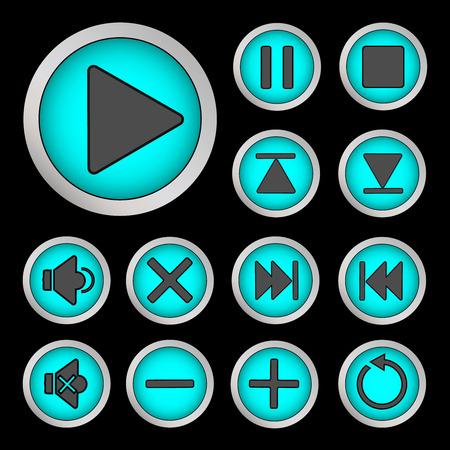 backwards: Set van neon knoppen turquoise voor speler Vector illustratie