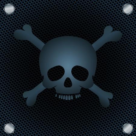 Skull and crossbones on metal grid  Vector illustration