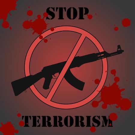 urging: Sign urging to stop terrorism Illustration