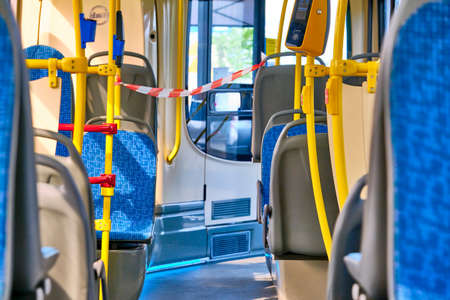 an empty bus in Moscow during the coronavirus quarantine 13.05.2020 Editorial