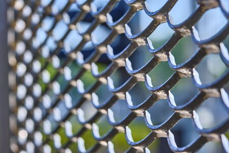 texture of metal lattice macro color