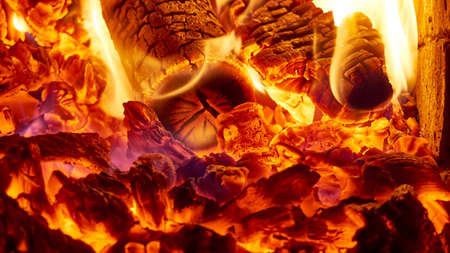 Large burning fire with soft glowing flame and sparkling around.Fire flame. color