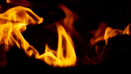 Flaming firewood in russian stove