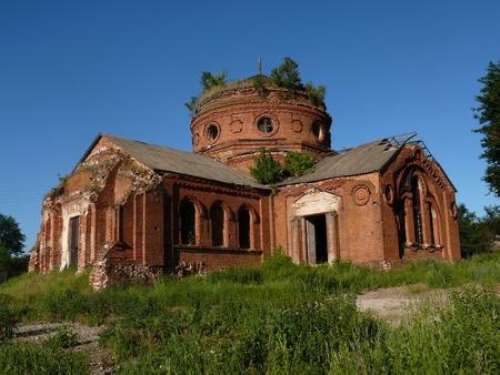 destroyed church in the ukrainian village