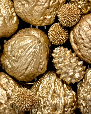 christmasy: golden walnuts close-up