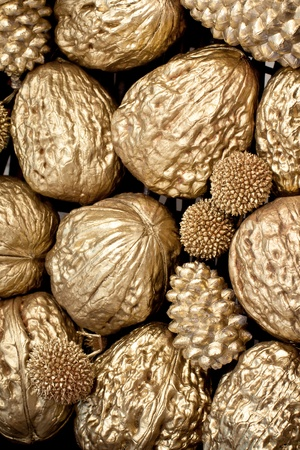 christmasy: golden walnuts texture