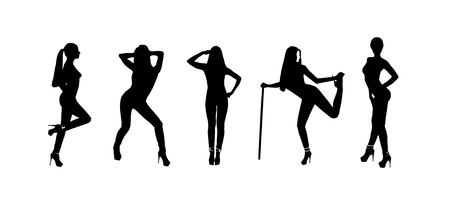 silhouettes of a pretty girl in different poses