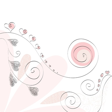 pink heart and curl valentine romantic background photo
