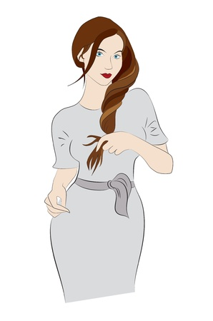 young beautiful posing woman holding her hair Vector