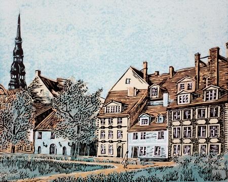 technic: retro city landscape linoleum engraving artwork technic