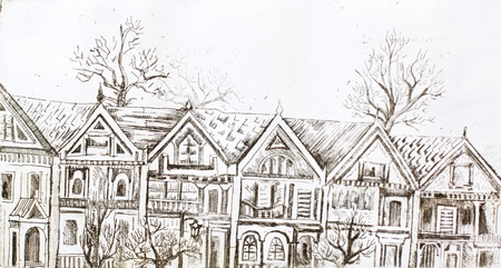 row houses: aquafortis artwork with row of stylised victorian houses